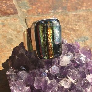 Jewelry - Chunky vintage multicolored dichroic glass ring.